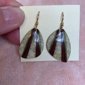 Vintage Stone, Wood & Brass Earrings